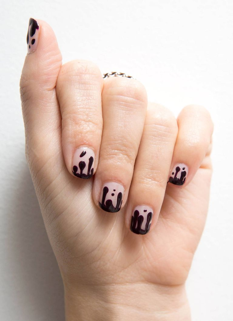Nail art how to blood drip manicure kathleen kamphausen prinsesfo Images