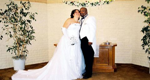 Trousers, Bridal clothing, Dress, Photograph, Outerwear, Flowerpot, Happy, Bride, Formal wear, Wedding dress,