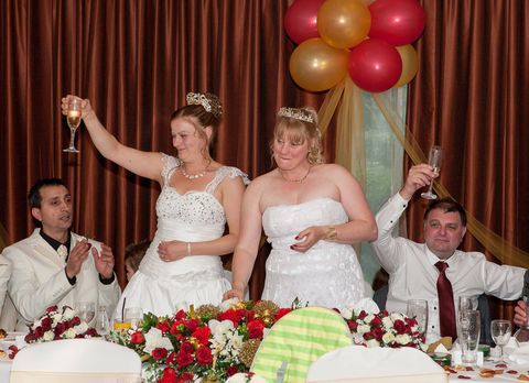 Event, Dress, Balloon, Bridal clothing, Wedding dress, Tablecloth, Tradition, Party, Bride, Formal wear,