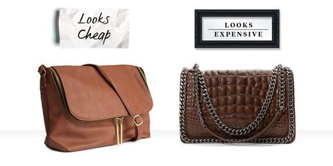 3ba48d1d1318 On right: Brown Faux Croc Chain Bag, ZARA, ...