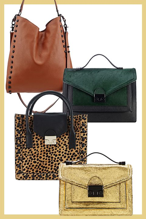 From The Top Leather Studded Hobo Bag 395 Black And Green Calf Hair 595 Cheetah Print Tote 450 Metallic Gold