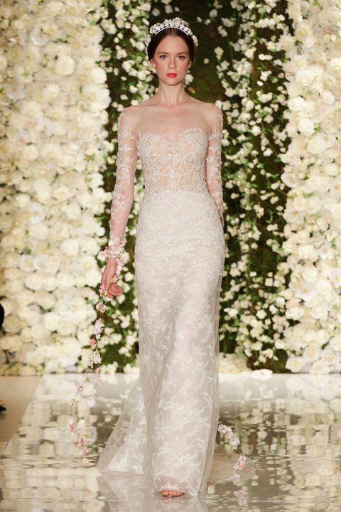 Clothing, Shoulder, Dress, Petal, Fashion model, Gown, Bridal clothing, Waist, Wedding dress, One-piece garment,