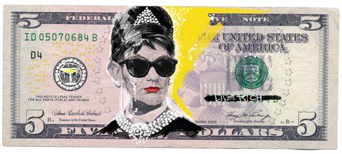 Audrey Hepburn, money, $5 bill