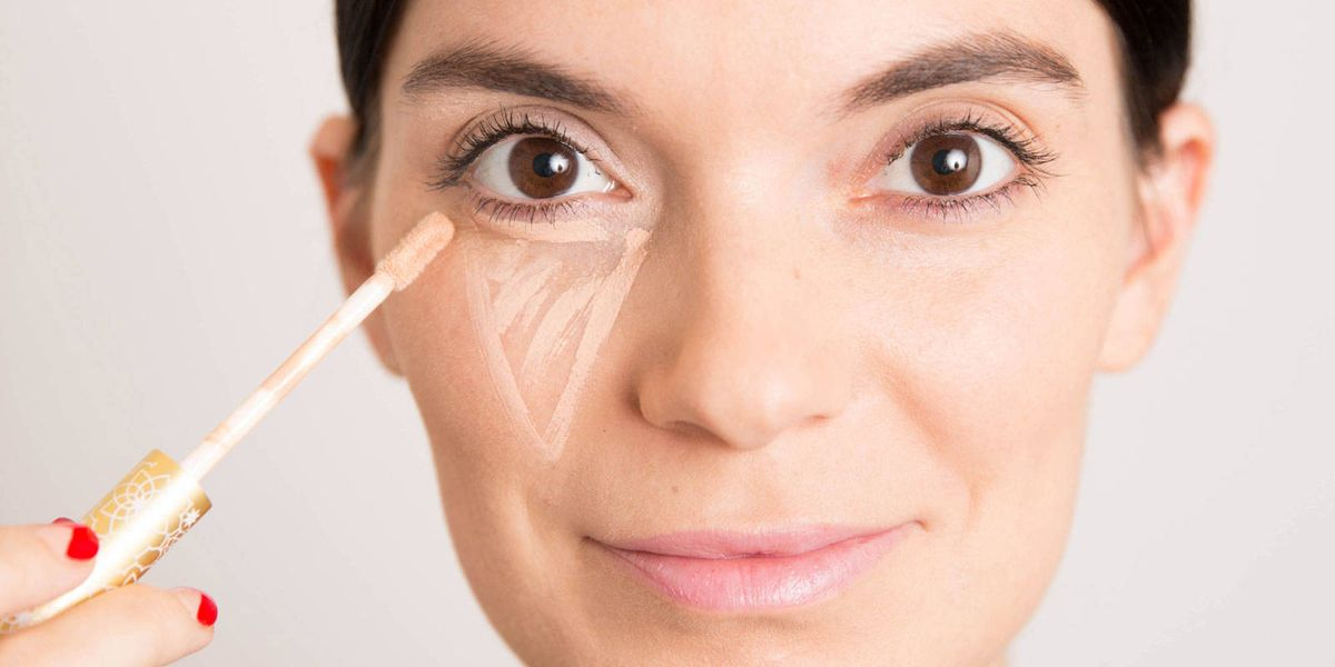 Image result for 5. Conceal dark circles and puffy eyes the right way by creating a triangle with your cover-up.