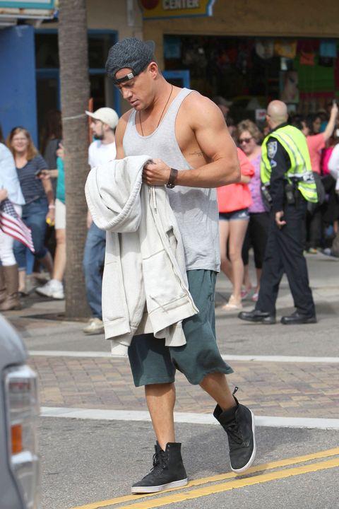 Clothing, Footwear, Leg, Road, Trousers, Human leg, Shoe, Street, Shorts, T-shirt,