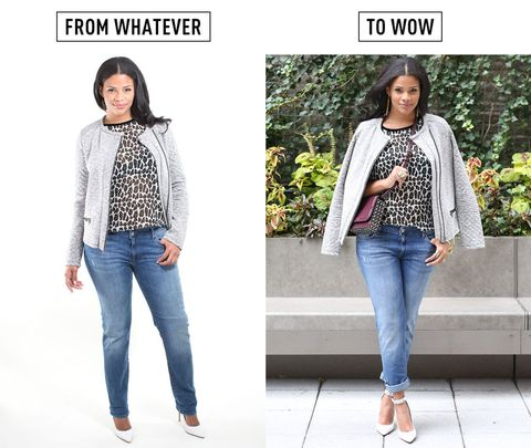 38a1dfd9d88d ... a low on your hips for a little extra slouchiness. The volume of the  jacket will help balance the volume of the jeans and create a more  flattering look.