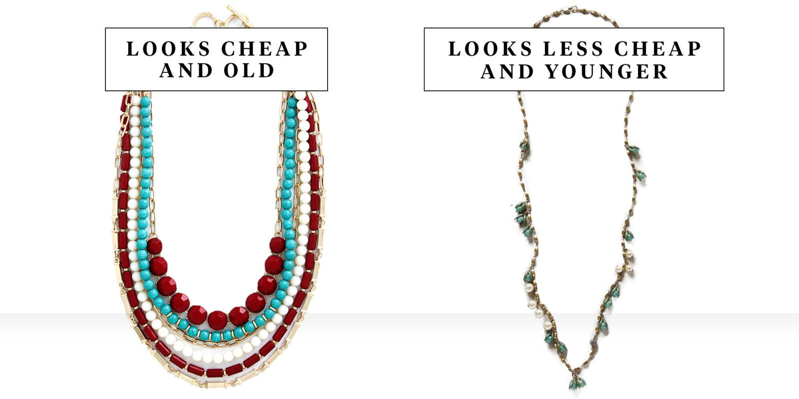 Necklace chain style with dangling transparent beads colour choice