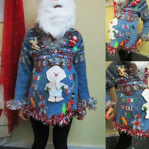Blue, Sleeve, Textile, Pattern, Fashion, Fictional character, Fur, Stuffed toy, Creative arts, Santa claus,