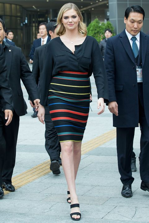 """Kate Upton attends a promotional event for """"Game Of War - Fire Age"""" at Times Square on Nov. 23, 2014 in Seoul, South Korea."""