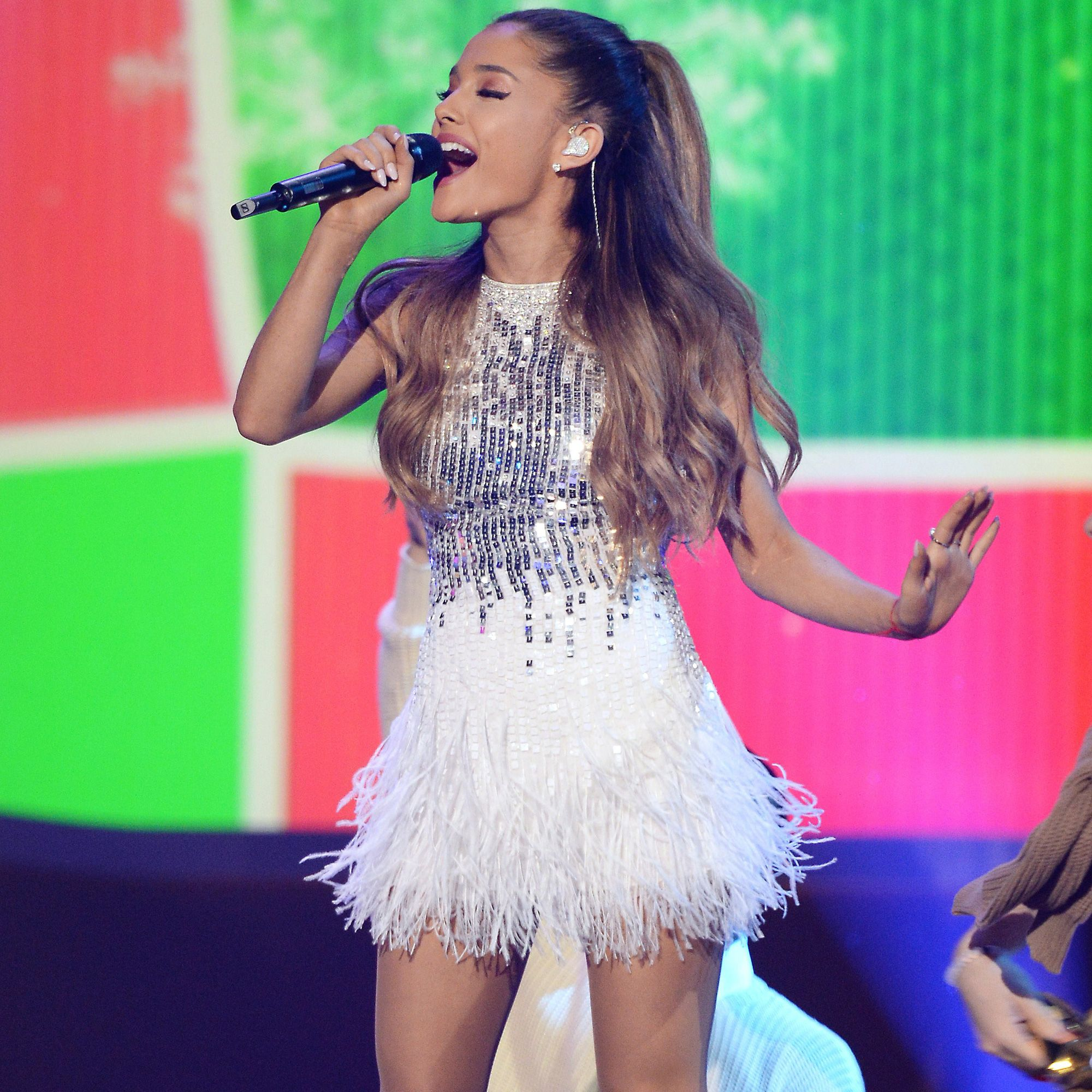Ariana Grande performs at the taping of <i>A Very Grammy Christmas</i> at the Shrine Auditorium in Los Angeles on Nov. 18, 2014.