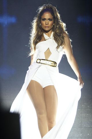 Jennifer Lopez performs live in a cut-out leotard following the Singapore F1 Grand Prix  on September 21, 2014 in Singapore.