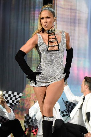 Metal boob cutouts at Fashion Rocks 2014 at Barclays Center on Sept.  9, 2014 in New York City.