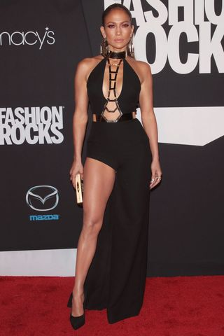 Boob cutouts and major slit at Fashion Rocks 2014 on Sept. 9, 2014 in Brooklyn, New York City.