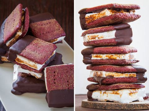 """<p> </p> <p><strong>Get the recipe from <a href=""""http://www.eatthelove.com/2013/05/red-velvet-smores/"""" target=""""_blank"""">Eat the Love</a>.</strong></p>"""
