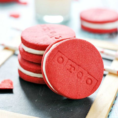 """<p> </p> <p><strong>Get the recipe from <a href=""""http://www.somethingswanky.com/red-velvet-oreos/"""" target=""""_blank"""">Something Swanky</a>.</strong></p>"""