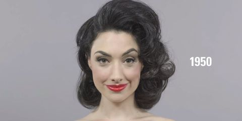 Watch This Woman Try On 100 Years' Worth of Hair and Makeup Trends in Just One Minute