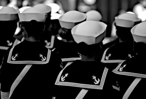 White, Uniform, Monochrome, Monochrome photography, Black-and-white, Peaked cap, Still life photography, Costume accessory,