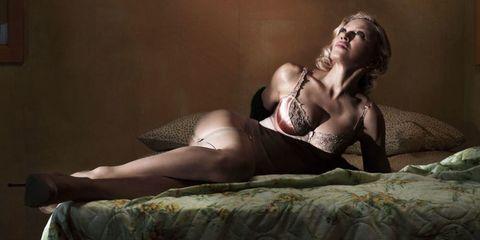 Human, Human body, Sitting, Human leg, Comfort, Brassiere, Linens, Beauty, Bed, Black hair,