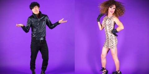 Purple, Style, Microphone, Fashion, Dress, Jacket, Violet, Thigh, Fashion model, Day dress,