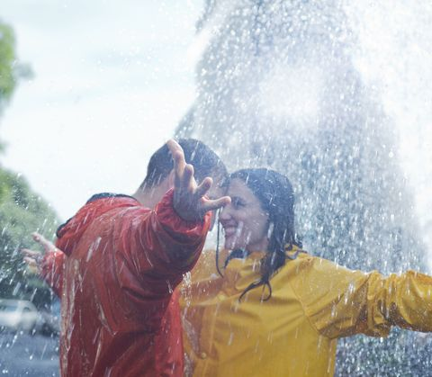 Nose, Fun, Happy, Fluid, People in nature, Facial expression, Water feature, Drop, Bathing,