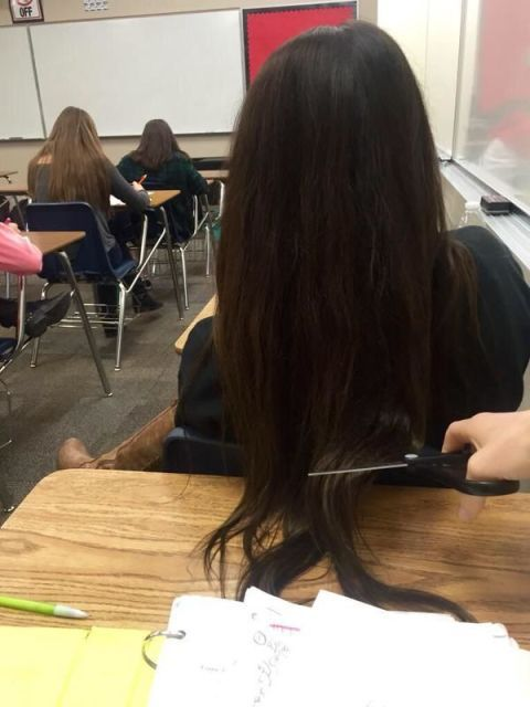 World's Worst Dude Cuts the Hair of Girl Sitting in Front of Him