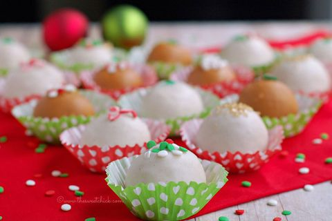 """<p><br /><strong>Get the recipe from <a href=""""http://www.thesweetchick.com/2013/12/eggnog-cheesecake-truffles.html"""" target=""""_blank"""">The Sweet Chick</a>.</strong></p>"""