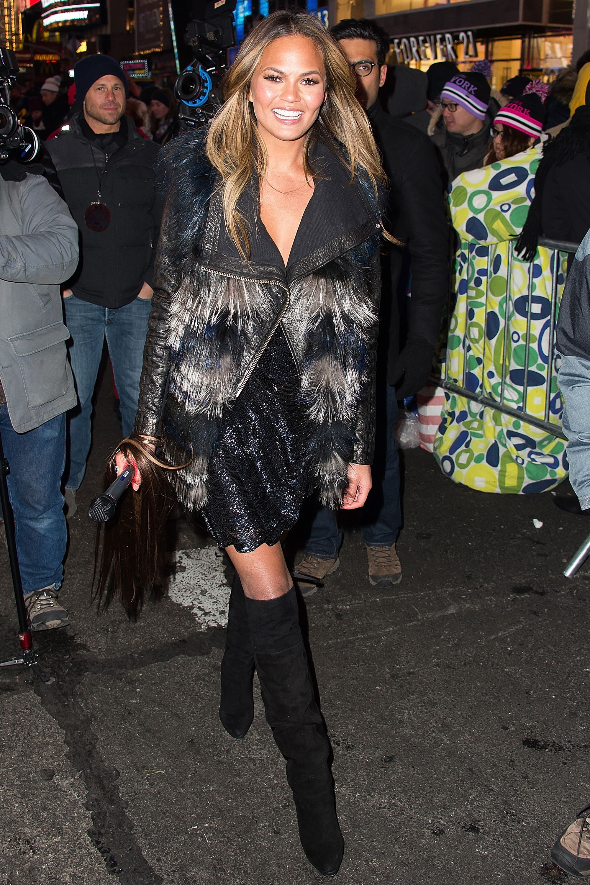 Chrissy Teigen attends New Year's Eve 2015 in Times Square on Dec. 31, 2014.