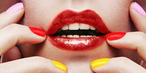 Finger, Lip, Skin, Nail, Tooth, Nail care, Organ, Nail polish, Lipstick, Close-up,