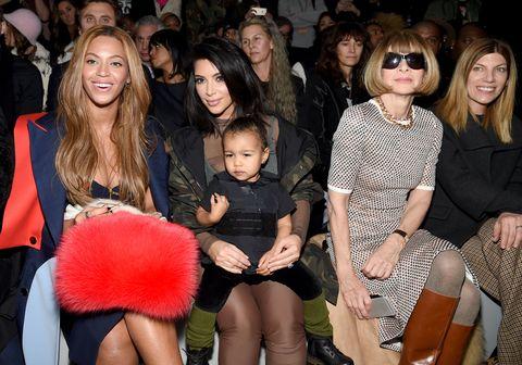 kanye west fashion show beyonce kim kardashian anna wintour north west