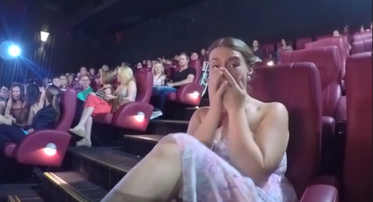 the fifty shades wedding proposal you have to see to believe when nick decided to propose to his girlfriend of eight years he thought that doing it before a screening of fifty shades of grey was an excellent idea