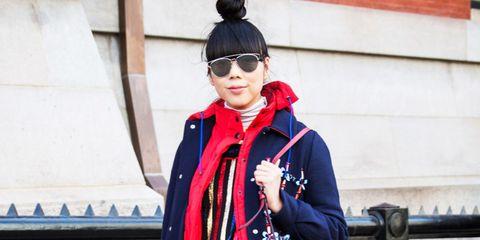 Hat, Winter, Street fashion, Costume accessory, Costume, Maroon, Costume design, Bag, Sun hat, Sunglasses,