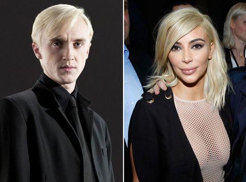tom felton is pretty sure kim kardashian dyed her hair blonde