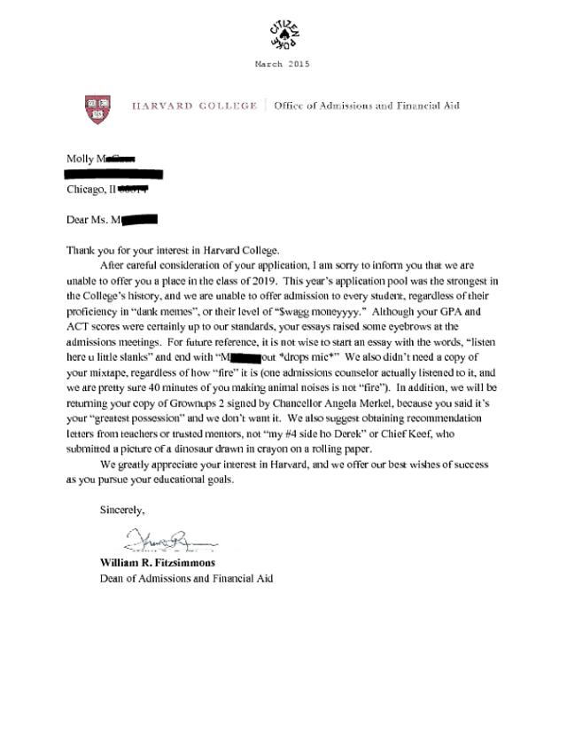 Harvard college admissions essay