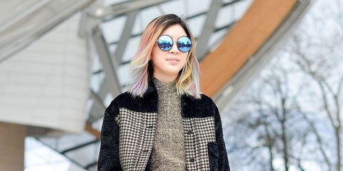 Clothing, Eyewear, Vision care, Winter, Textile, Outerwear, Street fashion, Sunglasses, Jacket, Beauty,