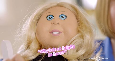 Lip, Cheek, Hairstyle, Chin, Eyebrow, Jaw, Blond, Toy, Long hair, Animation,