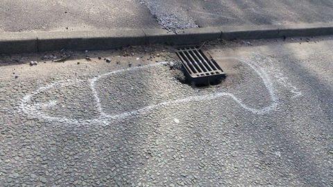 Asphalt, Road surface, Tar, Shadow, Silver, Storm drain,