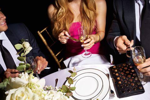 Bouquet, Serveware, Petal, Tablecloth, Coat, Outerwear, Dishware, Formal wear, Tableware, Suit,