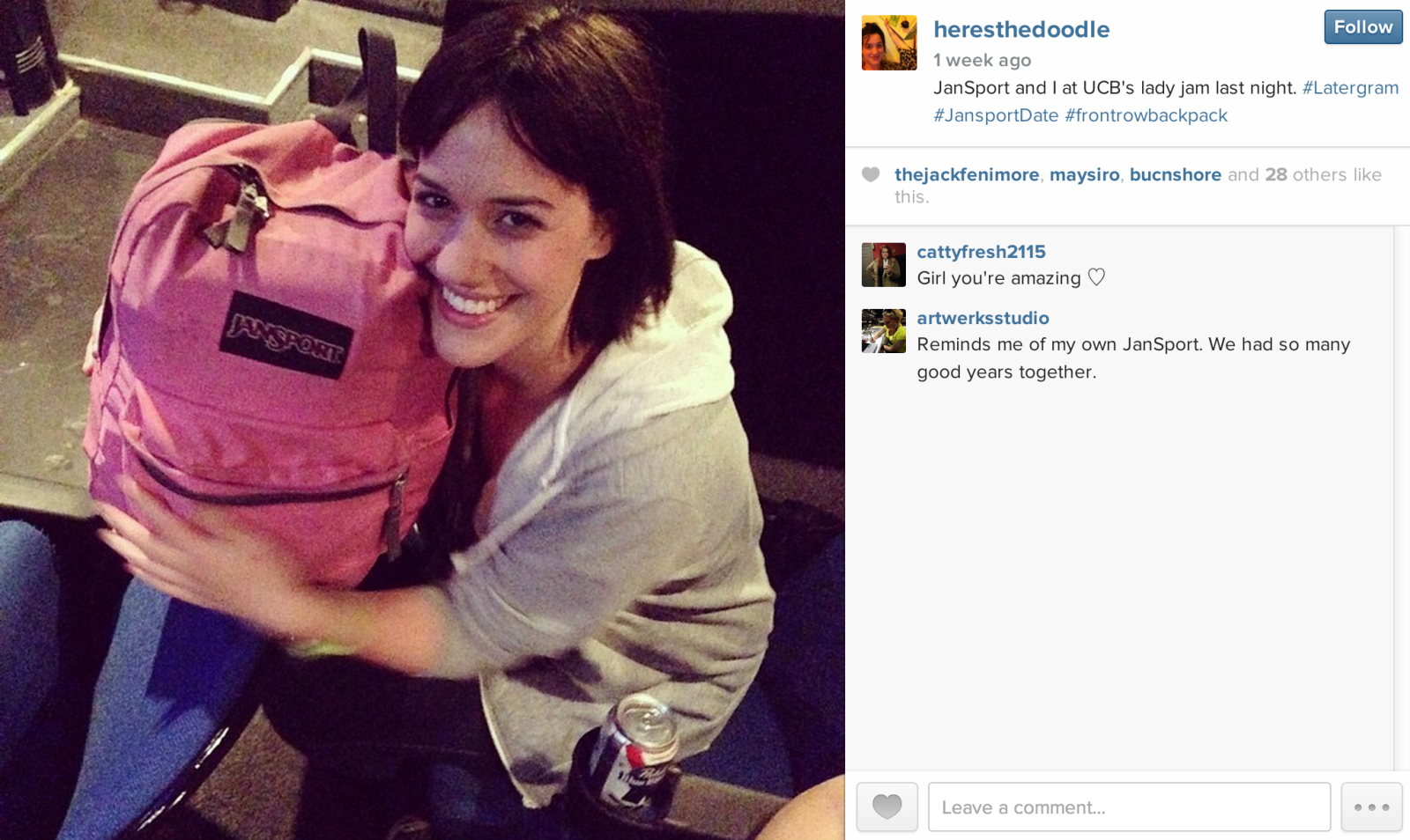 Woman dating her backpack
