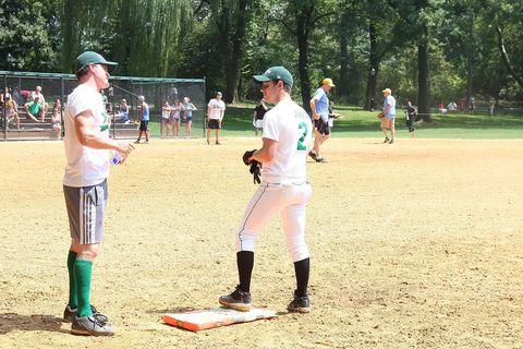 Footwear, Sports uniform, Baseball equipment, Baseball protective gear, Baseball field, Sport venue, Sports gear, Batting helmet, Sports equipment, Baseball uniform,