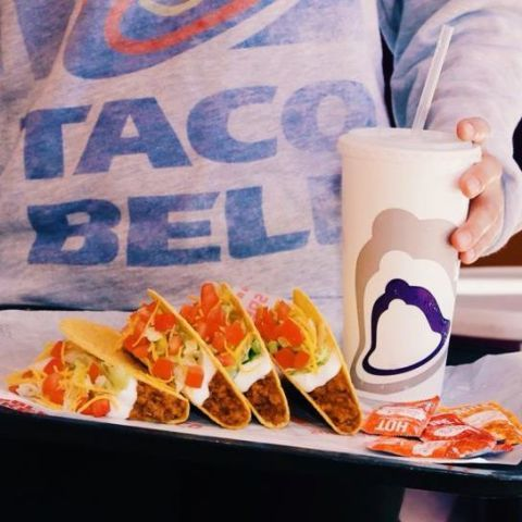 Taco Bell tacos and drink