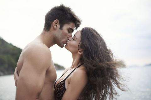 Ear, Lip, Photograph, Happy, People in nature, Summer, Kiss, Love, Romance, Interaction,