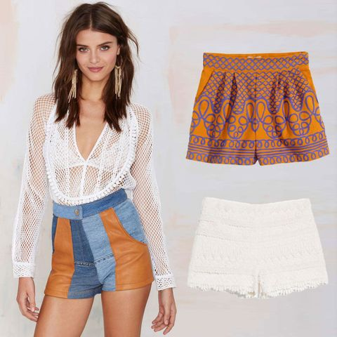 Denim and Leather Patchwork Shorts, AFTER PARTY VINTAGE (Available at Nasty  Gal), $62; Orange and Blue Embroidered Shorts, H&M, $50; White Crochet Lace  ...