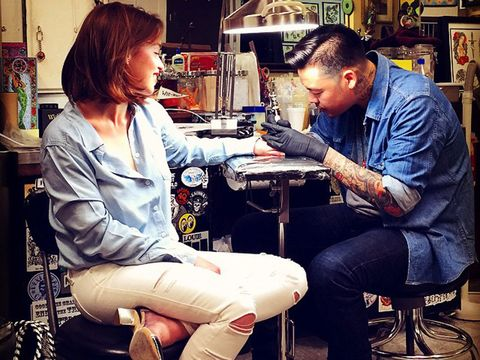 Sitting, Shelf, Service, Employment, Job, Shelving, Picture frame, Health care, Science, Tattoo artist,