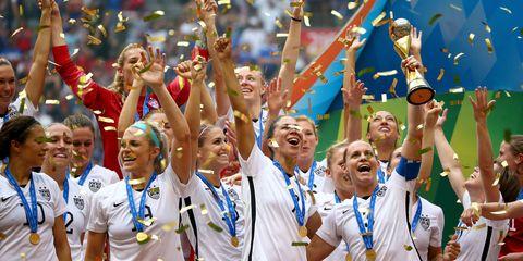 Celebrating, Uniform, Team, Championship, World, Fan, Crew, Competition, Cheering, Medal,
