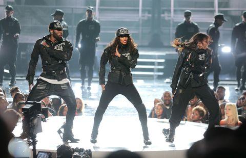 Entertainment, Jacket, Band plays, Fashion, Artist, Leather, Pop music, Public event, Helmet, Dance,