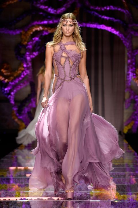 Hairstyle, Purple, Violet, Fashion show, Pink, Style, Magenta, Dress, Formal wear, Lavender,