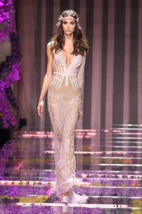 Clothing, Fashion show, Shoulder, Purple, Runway, Waist, Fashion model, Style, Violet, Lavender,