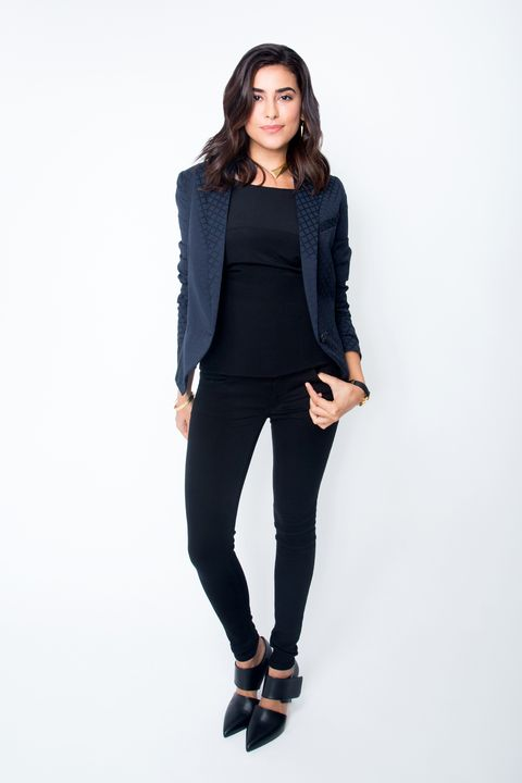 "<p>Ready for your dream job? An even black wash elevates denim from everyday-casual to uber-profesh. Make it sleek by pairing it with a structured (not slouchy) blazer, and closed-toe pumps or booties. </p><p><em>AEO Sateen X Jegging in Black, <a href=""https://ad.doubleclick.net/ddm/clk/293986022;120297921;j"" target=""_blank"">AMERICAN EAGLE OUTFITTERS</a>,</em><em><strong> </strong></em><em>$49.95; Silk and Leather Top, VALENTINA KOVA (</em><em>212-600-4909)</em><em>,</em><em><strong> </strong></em><em>$780; Anytime Jacket, SMYTHE </em><em>(Available at <a href=""http://shop.nordstrom.com/s/smythe-anytime-one-button-foulard-jacquard-jacket/4064345?origin=keywordsearch-personalizedsort&contextualcategoryid=2375500&fashionColor=&resultback=376"" target=""_blank"">Nordstrom</a>)</em><em>, </em><em>$595; Capri Pump, VINCE </em><em>(Available at <a href=""http://shop.nordstrom.com/s/vince-capri-pump-women/4001707?origin=category-personalizedsort&contextualcategoryid=0&fashionColor=Black&resultback=4800"" target=""_blank"">Nordstrom</a>)</em><em>,</em><em><strong> </strong></em><em>$450; Dagger Drop Earrings, </em><em>$105, and Large Dagger Collar, <a href=""http://onachan.com"">ONA CHAN</a>,</em><em><strong> </strong></em><em>$720; Estelle Monte Carlo Watch in Lizard, <a href=""http://komono.com"">KOMONO</a>,</em><em><strong> </strong></em><em>$99.95; Gold-Plated Copper Bracelet With Buckle Closure, </em><em>$269, and Gold-Plated Sterling Silver Hammered Bracelet, </em><em>WOUTERS & HENDRIX </em><em>(Available at Annelore, 212-775-0077)</em><em>, </em><em>$295.</em> </p>"