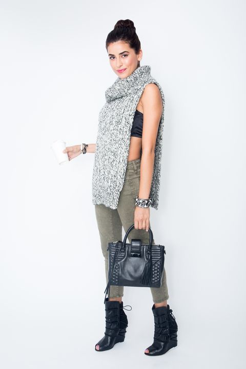 "<p>Don't let your go-to sweater-and-jeans look get sloppy. This chunky knit keeps you cozy <em>and</em> lets you show some peekaboo skin. An olive jean is a fall staple, and Sazan loves a cropped cut. ""Because you have that bit of ankle skin showing, you can wear this with any kind of shoe — a strappy heel, a bootie, or a pump,"" she says. </p><p><em>AEO Sateen X Jegging Crop in Olive, <a href=""https://ad.doubleclick.net/ddm/clk/293988378;120297921;z"">AMERICAN EAGLE OUTFITTERS</a>, $49.95; Dickie, <a href=""http://tracyreese.com"">TRACY REESE</a>, $295; Silk Flair Balcony Bra, <a href=""http://laperla.com"">LA PERLA</a>, $332; Aliz Tote, $295, and Scarlet Wedges, <a href=""http://rebeccaminkoff.com"">REBECCA MINKOFF</a>, $325; Small Viti Cuff in White, $150, and Link Cuff, <a href=""http://pluma-italia.com"">PLUMA</a>, $386; Single Chinese Crystal Bracelet, <a href=""http://chanluu.com"">CHAN LUU</a>, $85.</em> </p>"