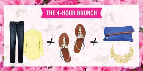 """<p>It took months to find a time that works for everyone, so this really is cause for celebration. Greet the crew with a bright, bold look that says, """"YAAAASSS!"""" to bottomless mimosas. Keep the shirt loose and the footwear comfortable, because this brunch is clearly going to last all afternoon.</p>"""
